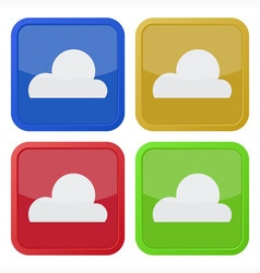 set of four square icons with cloud vector image vector image