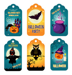 set of halloween tags with holiday characters vector image vector image