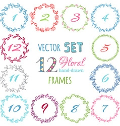 set of hand-drawn floral frames vector image vector image