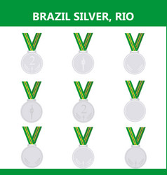 Set of silver medals icons brazil rio summer vector