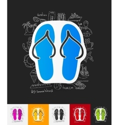 slippers paper sticker with hand drawn elements vector image vector image