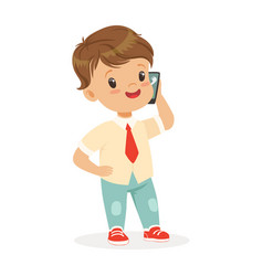 smiling little boy standing and talking on vector image