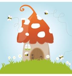 Spring mushroom house bees flower grass green door vector