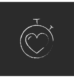 Stopwatch with heart icon drawn in chalk vector image