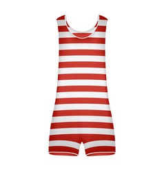 striped retro swimsuit in red and white design vector image vector image