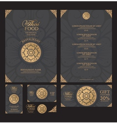 Thai food restaurant menu template vector