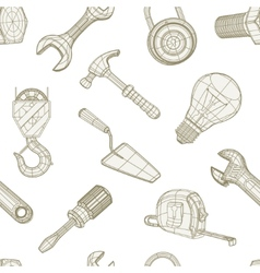 Tools drawing seamless pattern vector image vector image