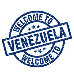 welcome to venezuela blue stamp vector image vector image