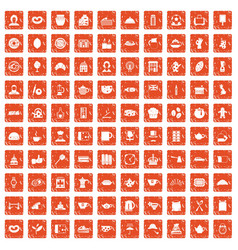 100 tea time food icons set grunge orange vector