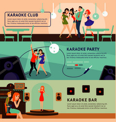 Karaoke party horizontal banners vector
