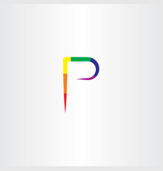colorful p letter logo icon symbol sign element vector image