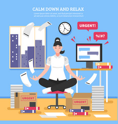 Businesswoman doing meditation flat vector