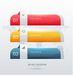 Three steps business infographic design template vector