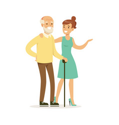 Young woman helping and supporting elderly man vector