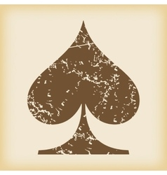 Grungy spades icon vector