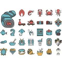 Seafood flat color icons collection vector