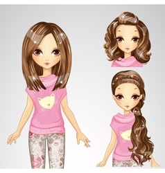 Beautiful fashion girl and collection of hairstyle vector