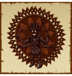 Evil brown statue of an ancient deity vector