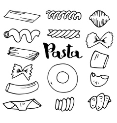 Italian pasta collection sketches hand vector
