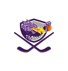 Dragon fire ball hockey stick crest retro vector
