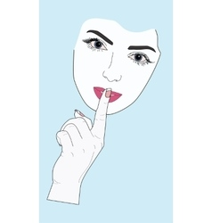 Woman face gesture of silence vector