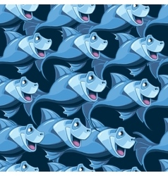 seamless pattern with blue fish in the sea vector image
