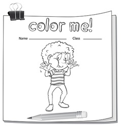 A worksheet with a young boy vector