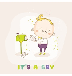 Baby Boy with Mail - Baby Shower or Arrival Card vector image