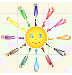background with colored pencils and sun vector image vector image
