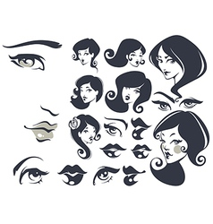 beautiful faces vector image vector image