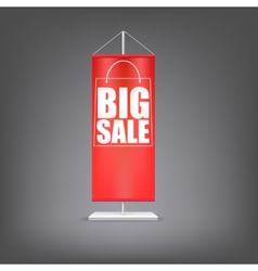 Big sale vertical red flag at the pillar vector