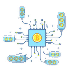 bitcoin concept in flat linear vector image vector image