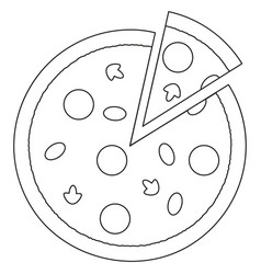 black and white pizza slice fast food icon poster vector image