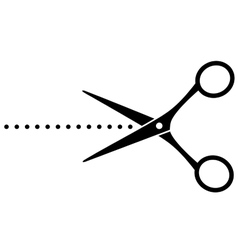 Black cutting scissors with points vector