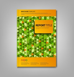 Brochures book or flyer with green triangles vector image