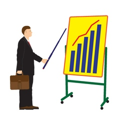 Businessman and board with the schedule vector image