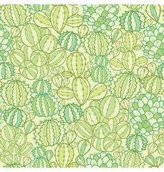 Cactus plants texture seamless pattern background vector