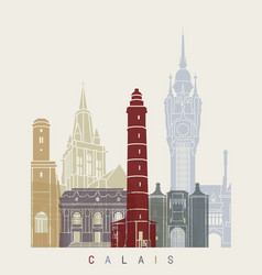 calais skyline poster vector image vector image