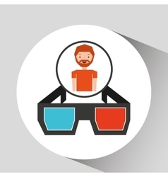 Cartoon man icon glasses cinema graphic vector
