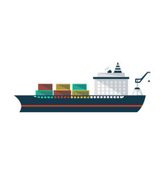 container ship icon in flat design vector image vector image
