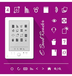 Electronic book e book reader icons vector