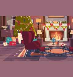 empty armchair near decorated pine tree and vector image vector image