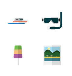 Flat beach set of scuba diving reminders sundae vector