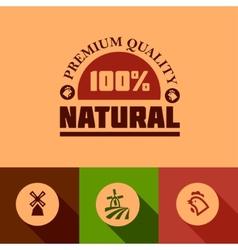 flat natural food icons vector image