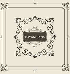frame template vintage ornament greeting vector image