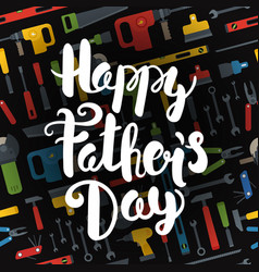 Happy fathers day lettering logo different tools vector