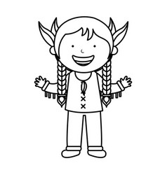 indian cute girl character vector image