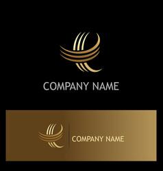 Letter e curve gold logo vector