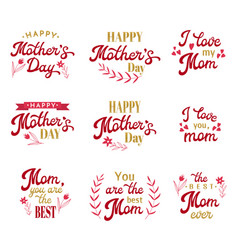 Mothers day hand lettering inscriptions set vector