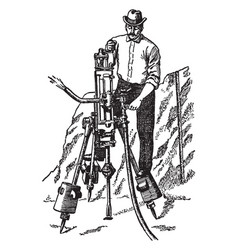 pneumatic rock drill vintage vector image
